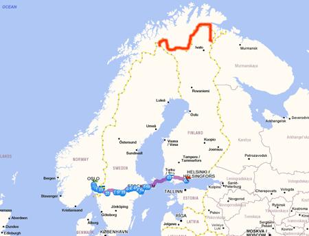 La línea roja es el trozo de frontera que comparten Noruega y Finlandia.